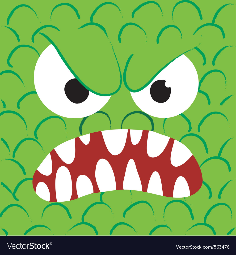 Angry monster close up vector image