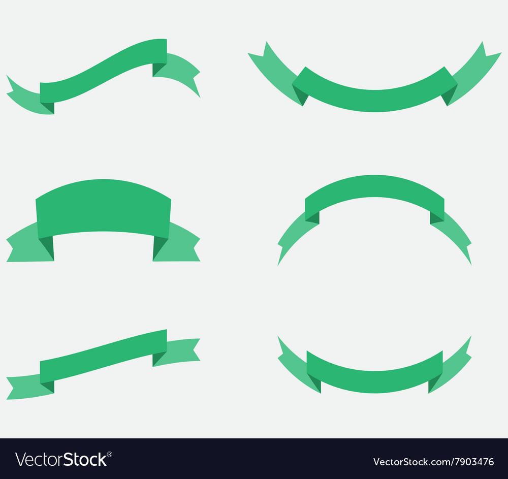 Ribbon decoration green color vector image