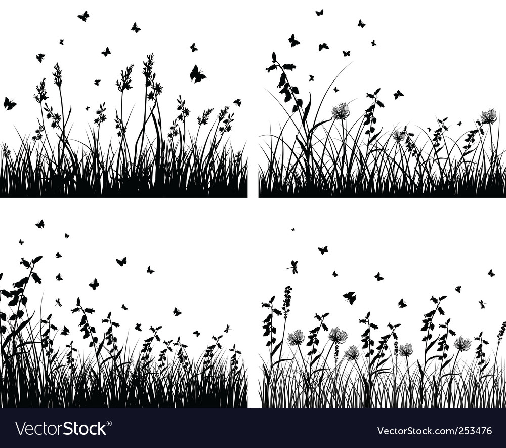 Set of grass silhouettes vector image