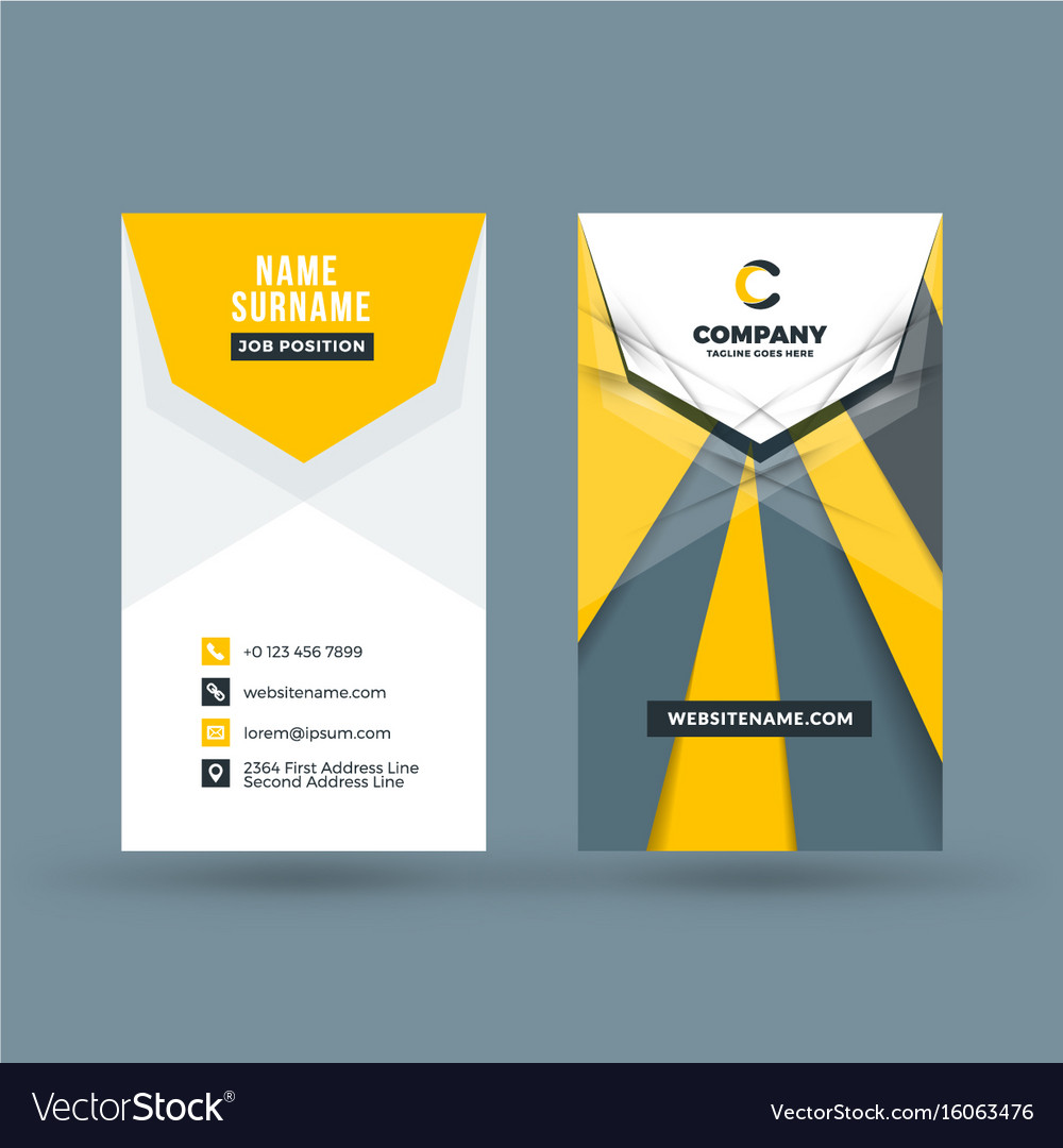 Vertical double sided business card template vector image vertical double sided business card template vector image flashek Gallery