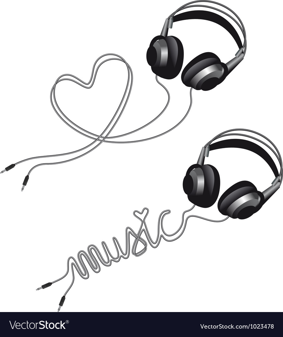 Headphone with heart vector image