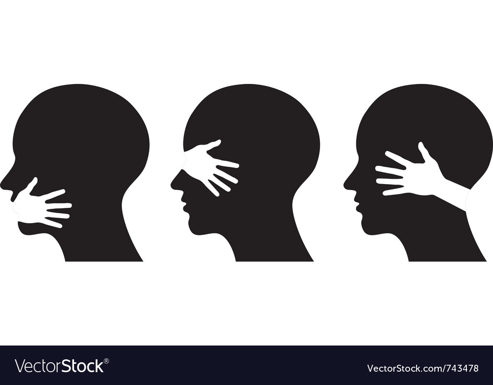 Set silhouettes of heads vector image