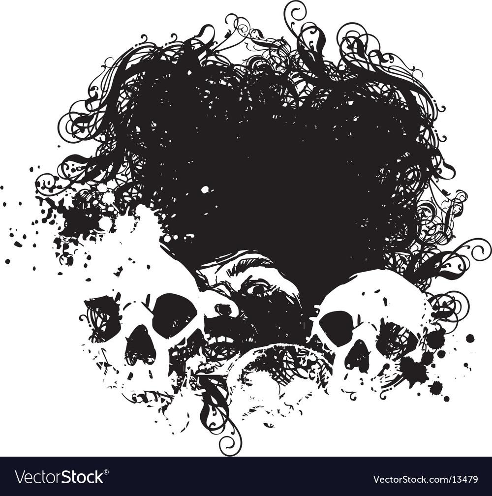 Fear grunge skulls illustration vector image