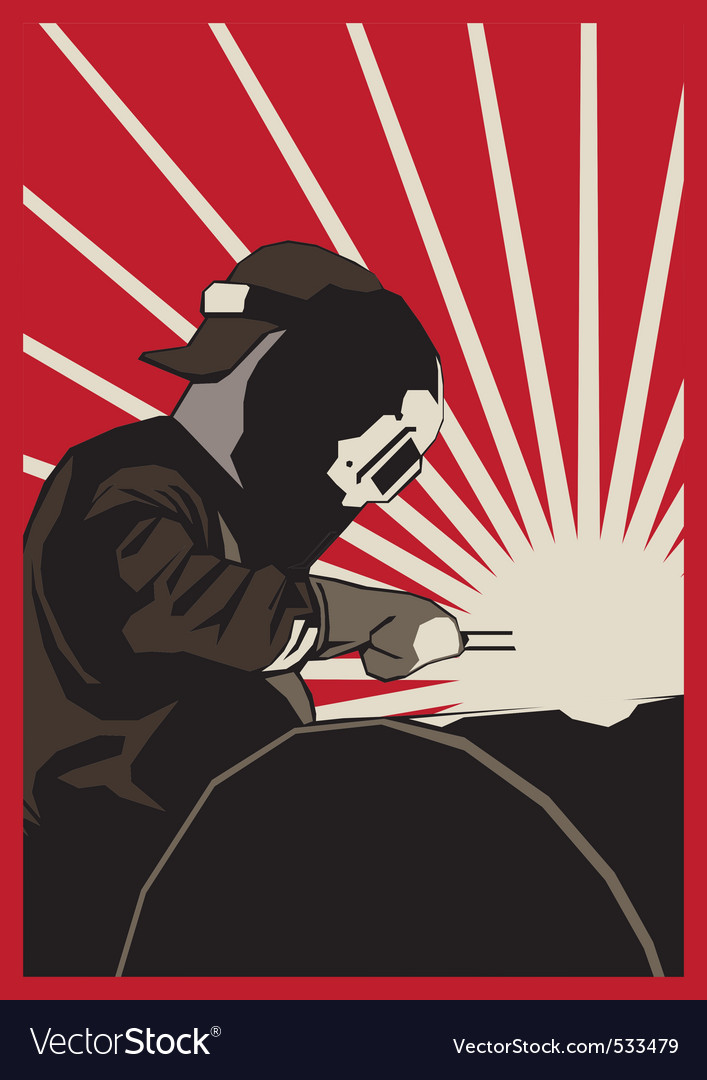 Poster with welder at work vector image
