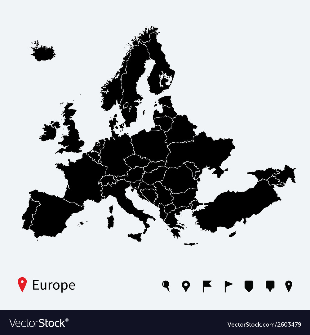 High detailed Europe Political map with navigation vector image