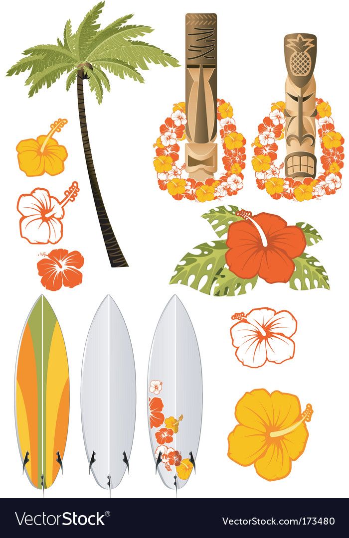 Hawaiian icons vector image