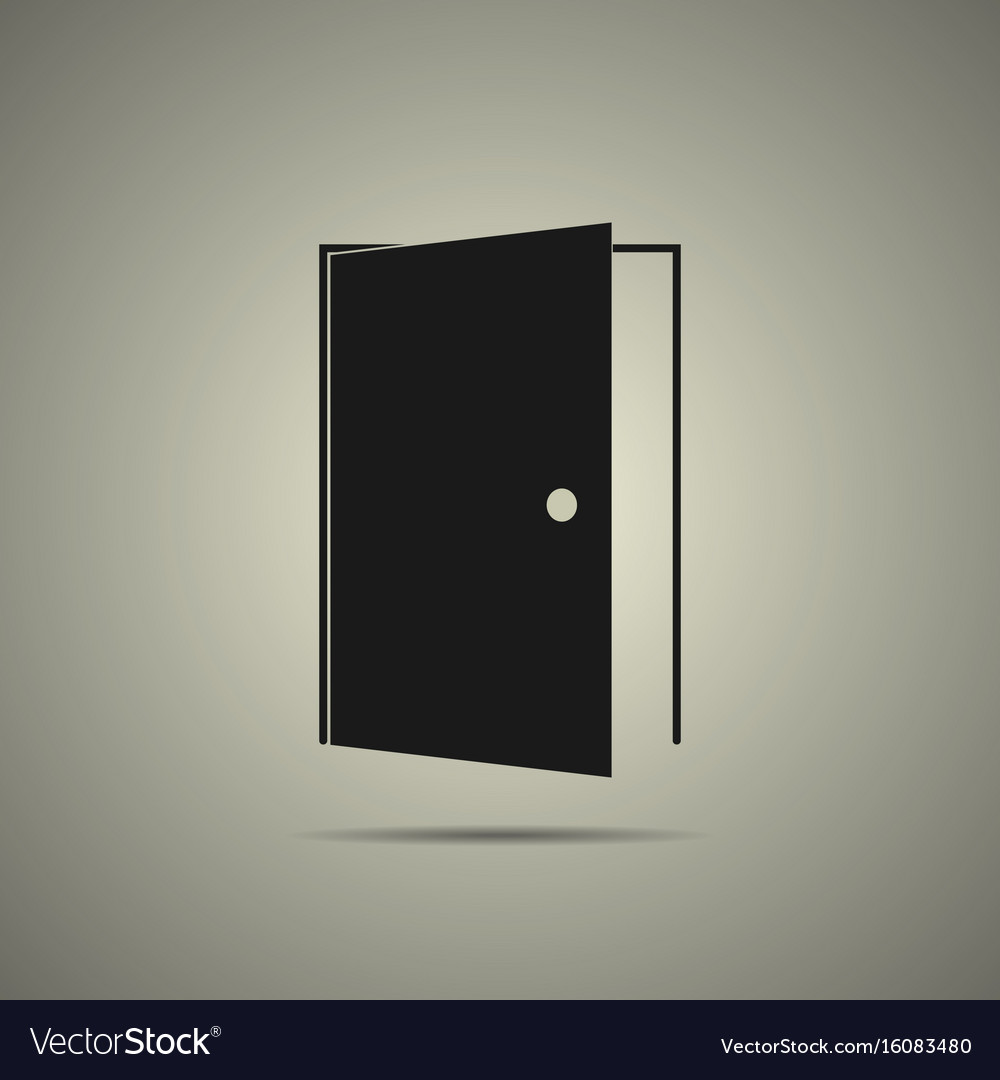 Door icon in flat black and white style vector image