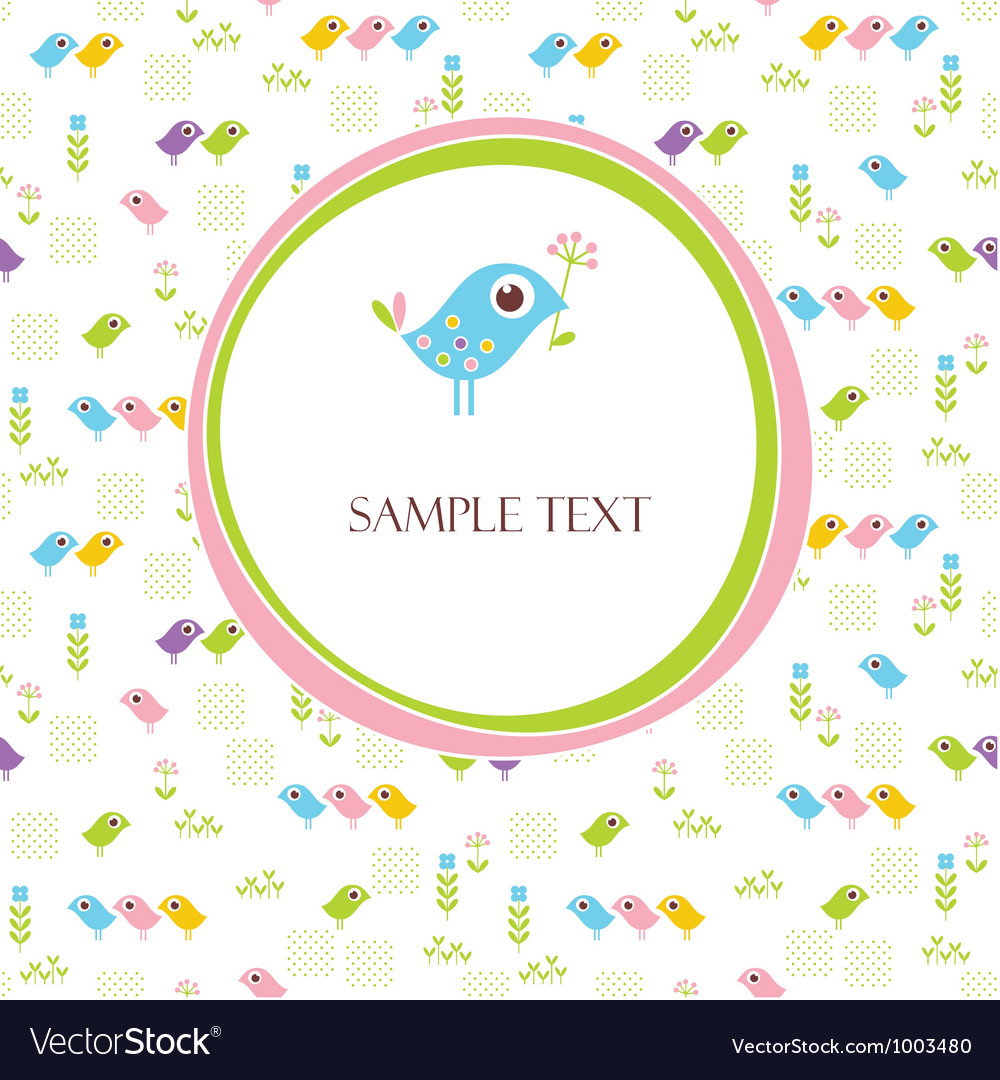 Greeting card with cute bird vector image