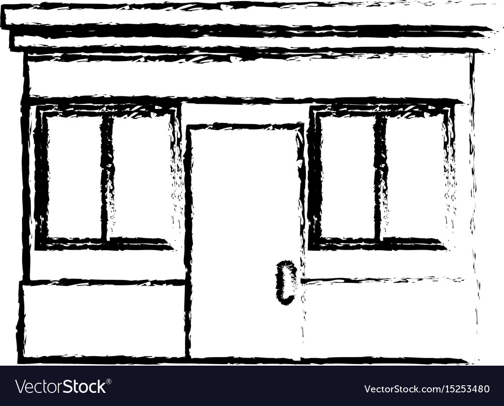Sketch facade store door windows image vector image