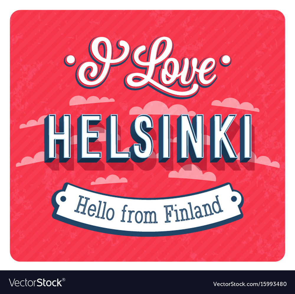 Vintage greeting card from helsinki vector image