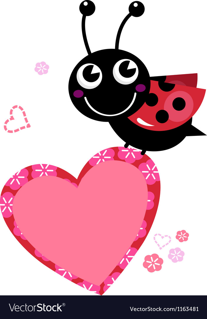 Cute flying Ladybug with heart isolated on white vector image