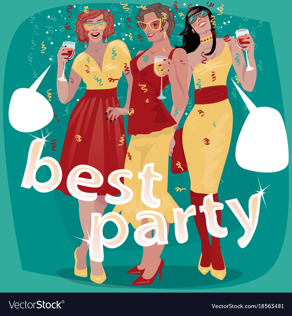 Three beautiful woman invited to party Royalty Free Vector