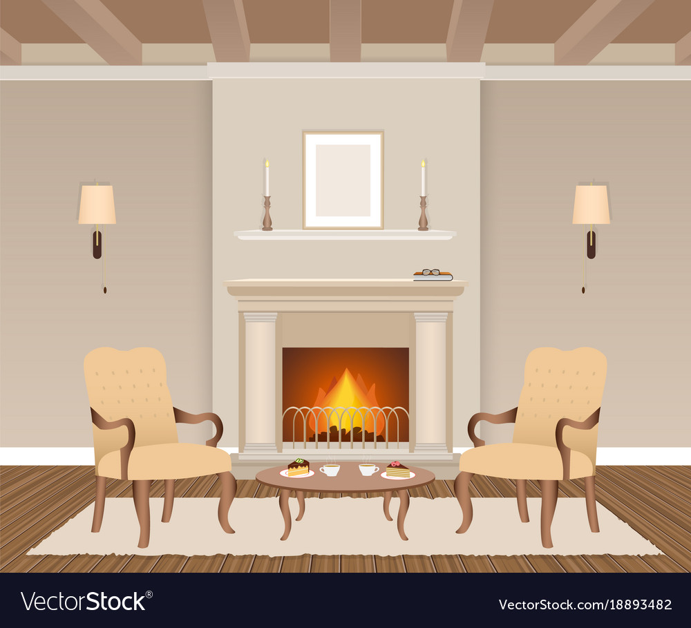 Living room interior with fireplace armchairs vector image