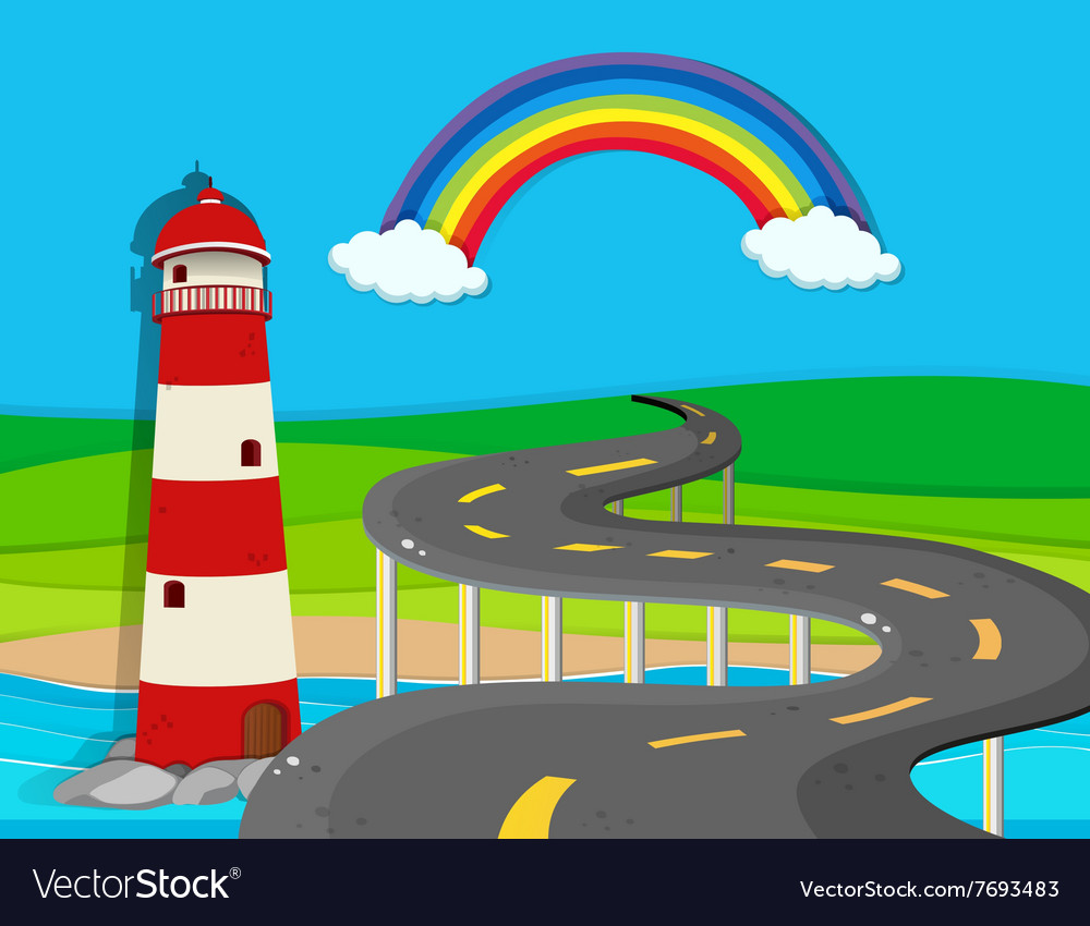 Nature scene with lighthouse and road vector image