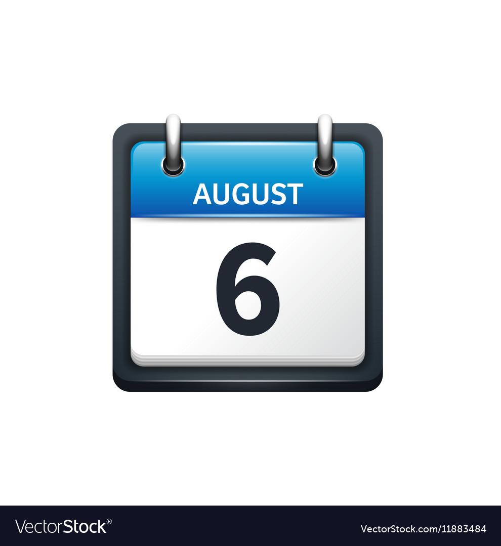 August 6 Calendar icon flat vector image