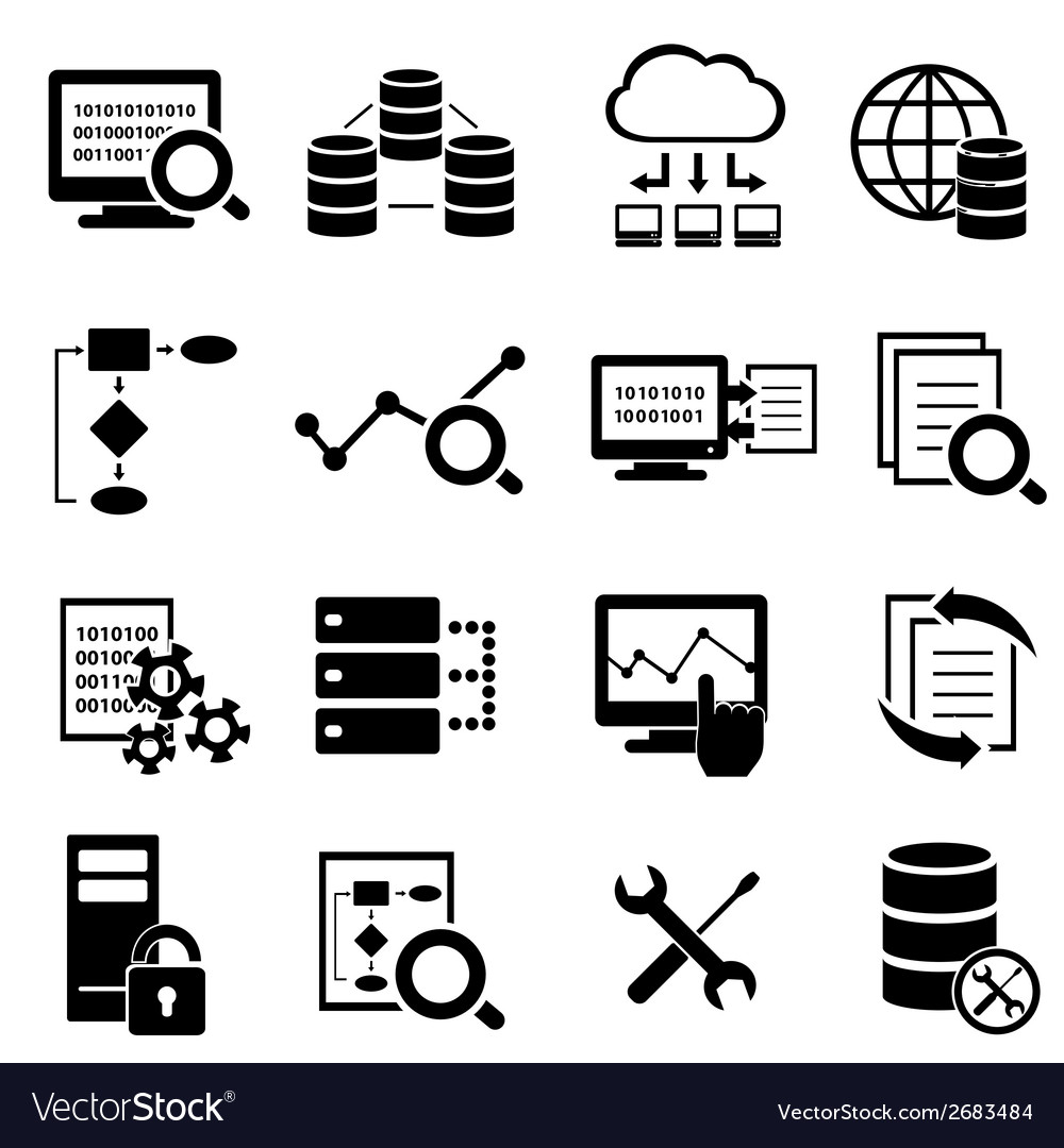 Big data cloud computing icons vector image