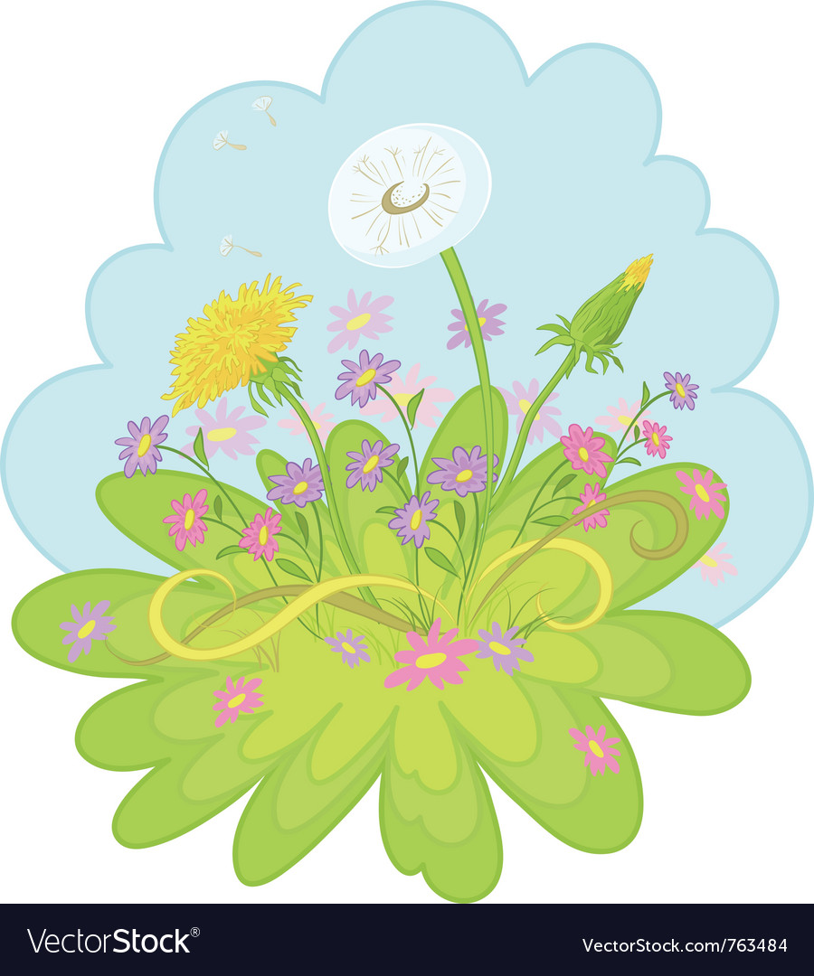 Flowers dandelions in the sky vector image