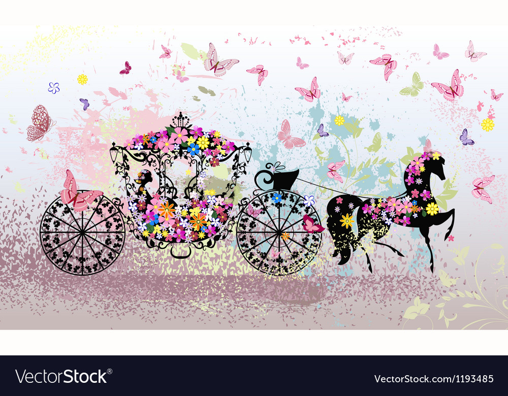 Floral Horse Carriage vector image
