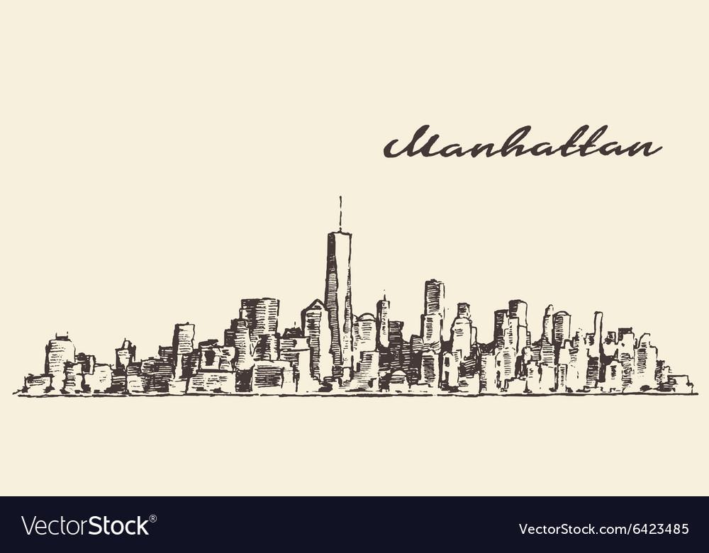 Manhattan New York hand drawn sketch vector image