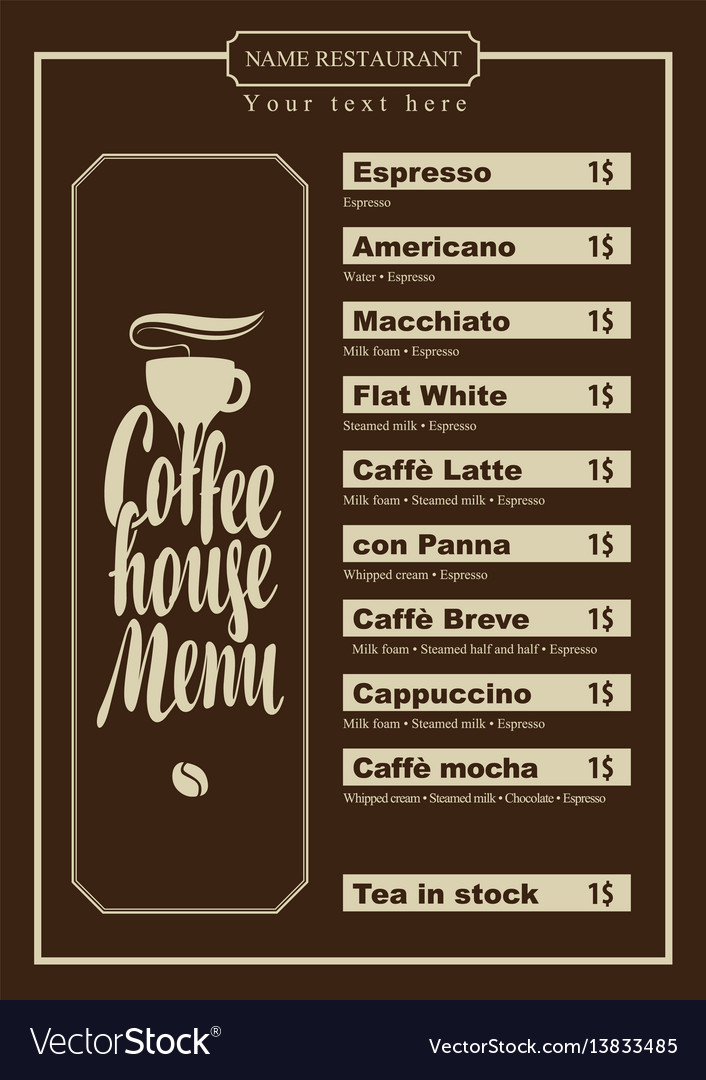 Menu With Price List For The Coffee House With Cup