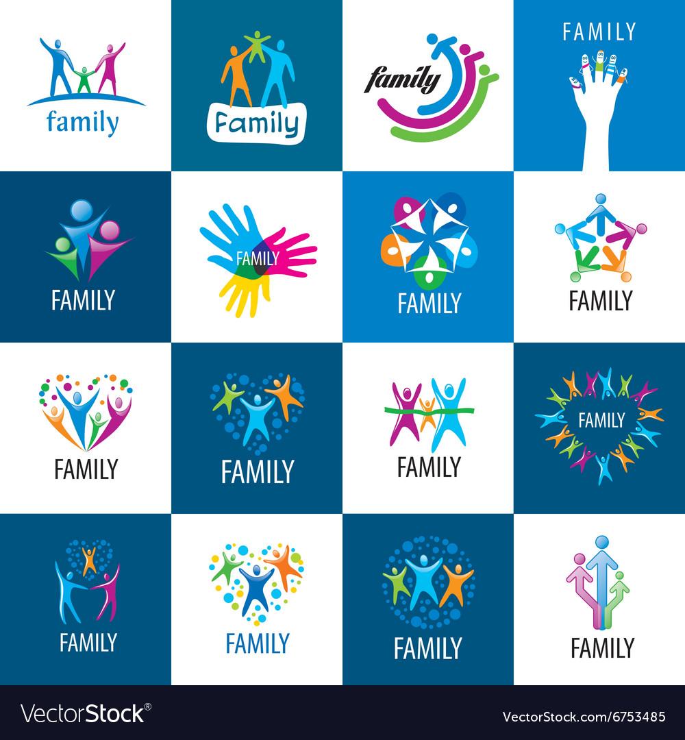 Set logos family vector image