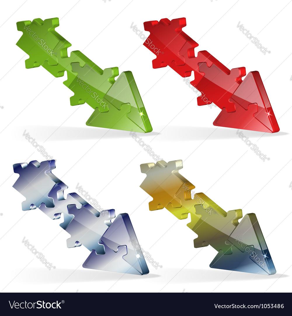 3d puzzle jigsaw arrow royalty free vector image