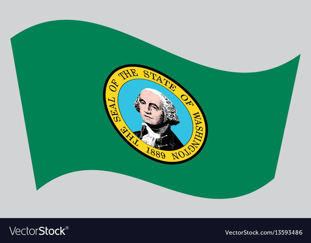 Flag of washington state waving on gray background vector image