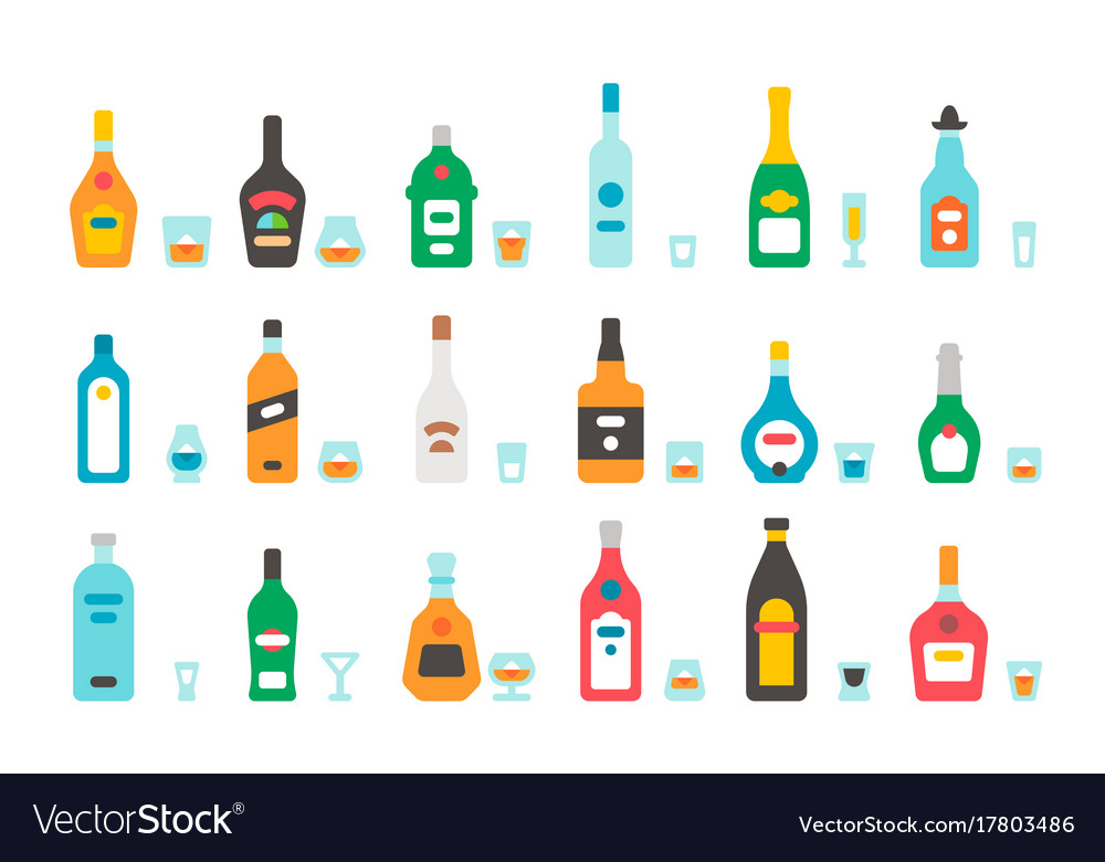 Flat design liquor bottles and glasses vector image