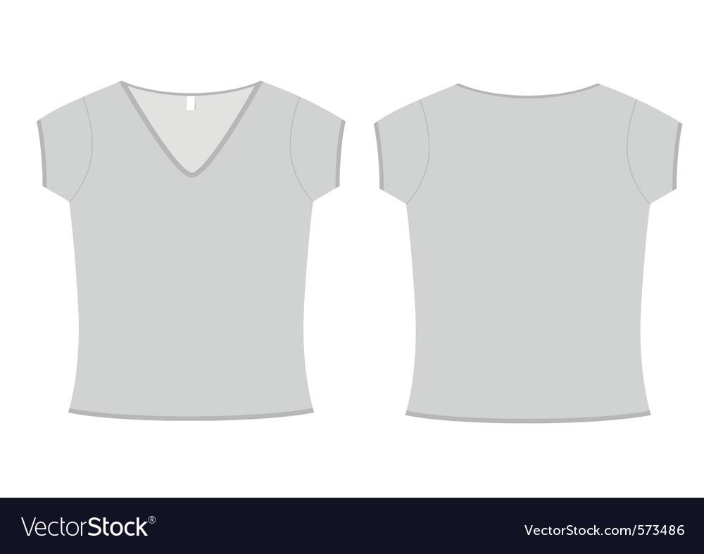 Ladies vneck tshirt template vector image