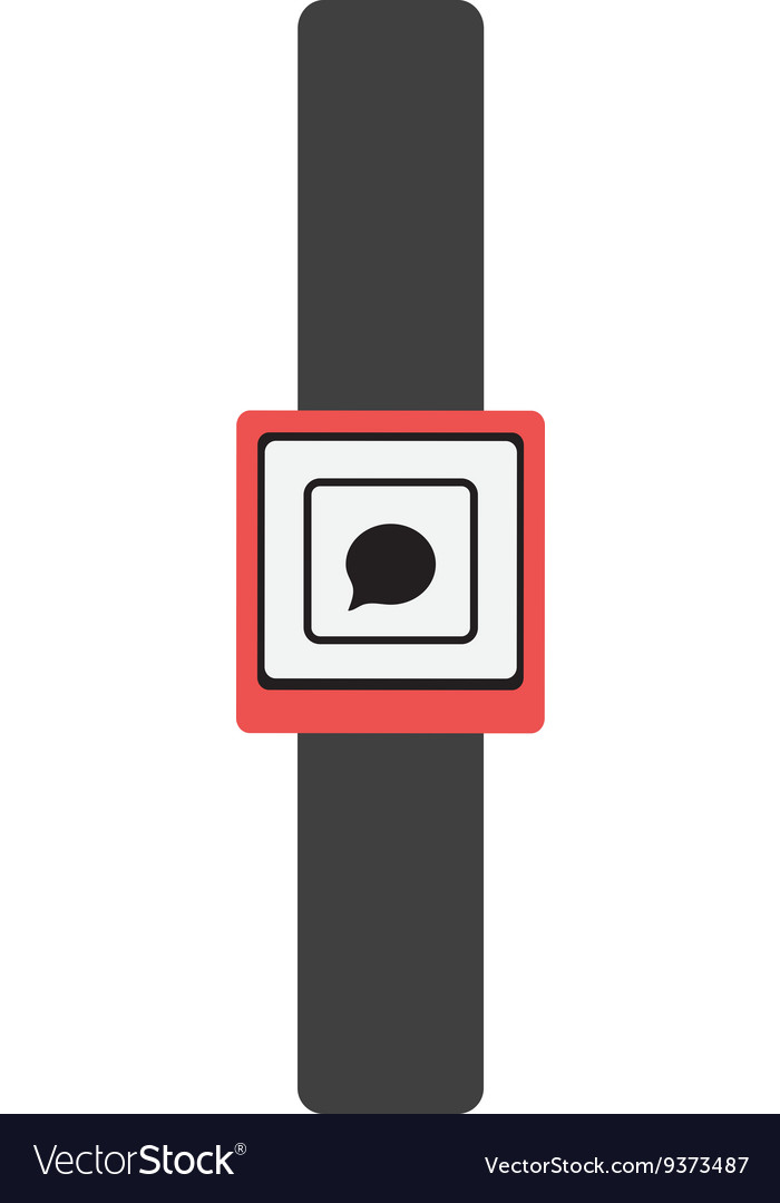 Black watch with red frame and media icon vector image