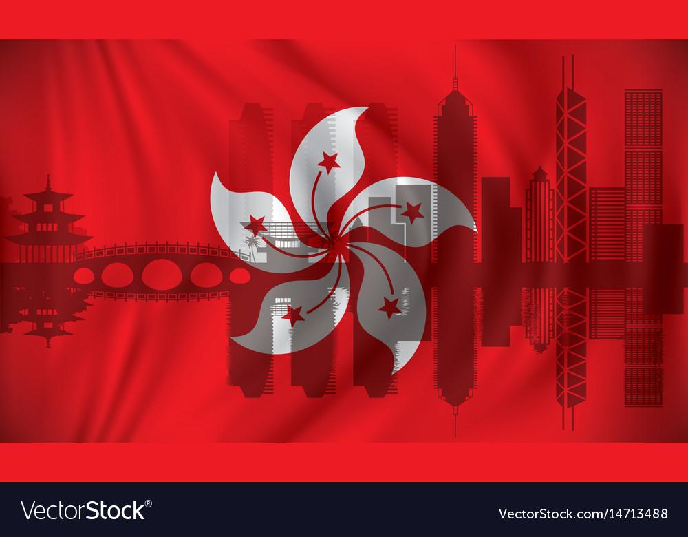 Flag of hong kong with skyline vector image
