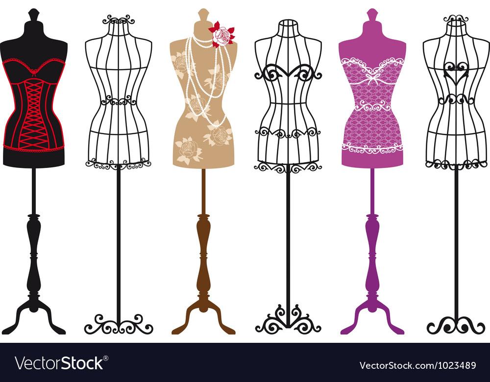 Vintage fashion mannequins Vector Image