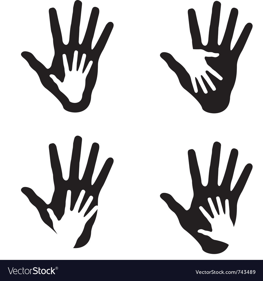 Set of helping hands vector image
