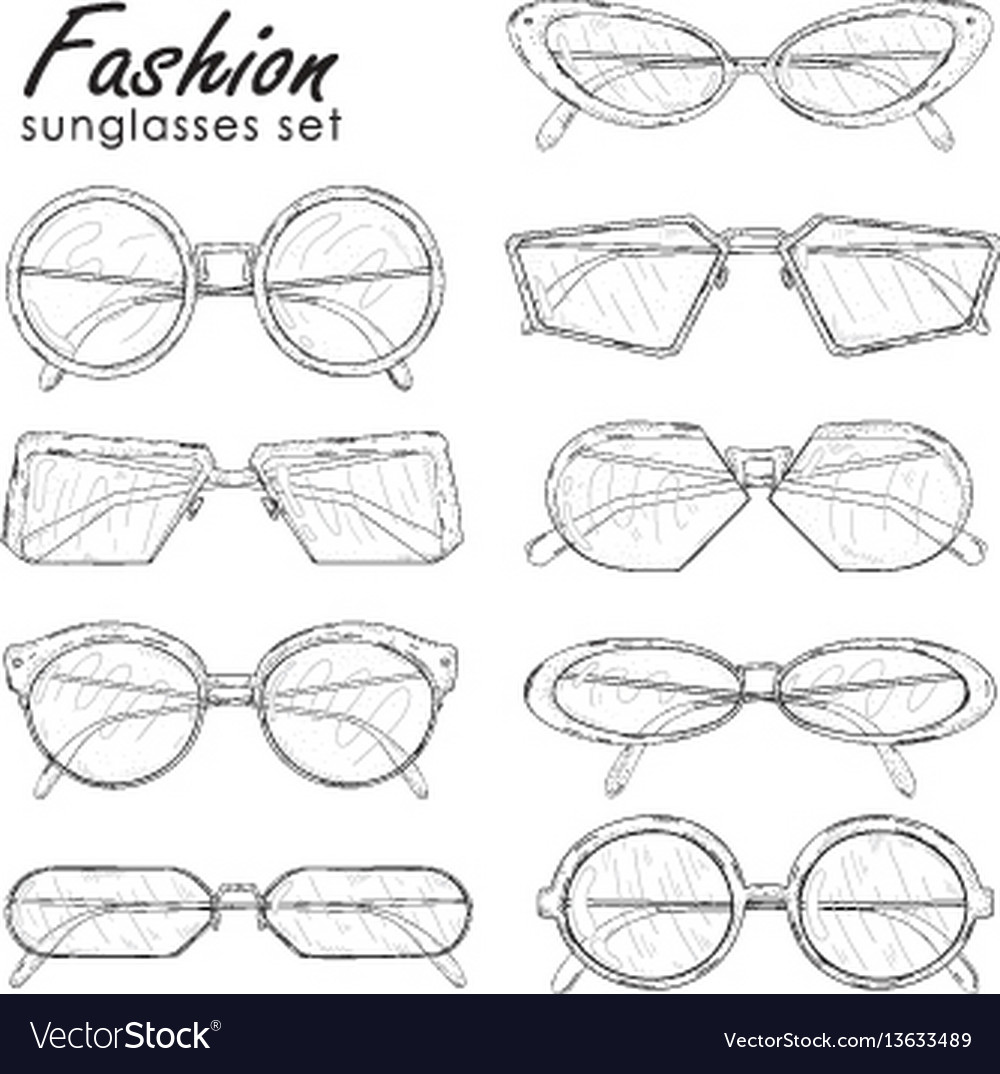 Fashion sunglasses set hand drawn glasses vector image