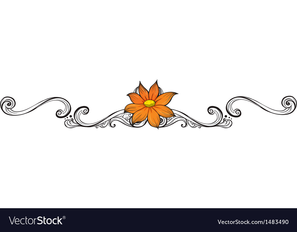 An orange flower border vector image
