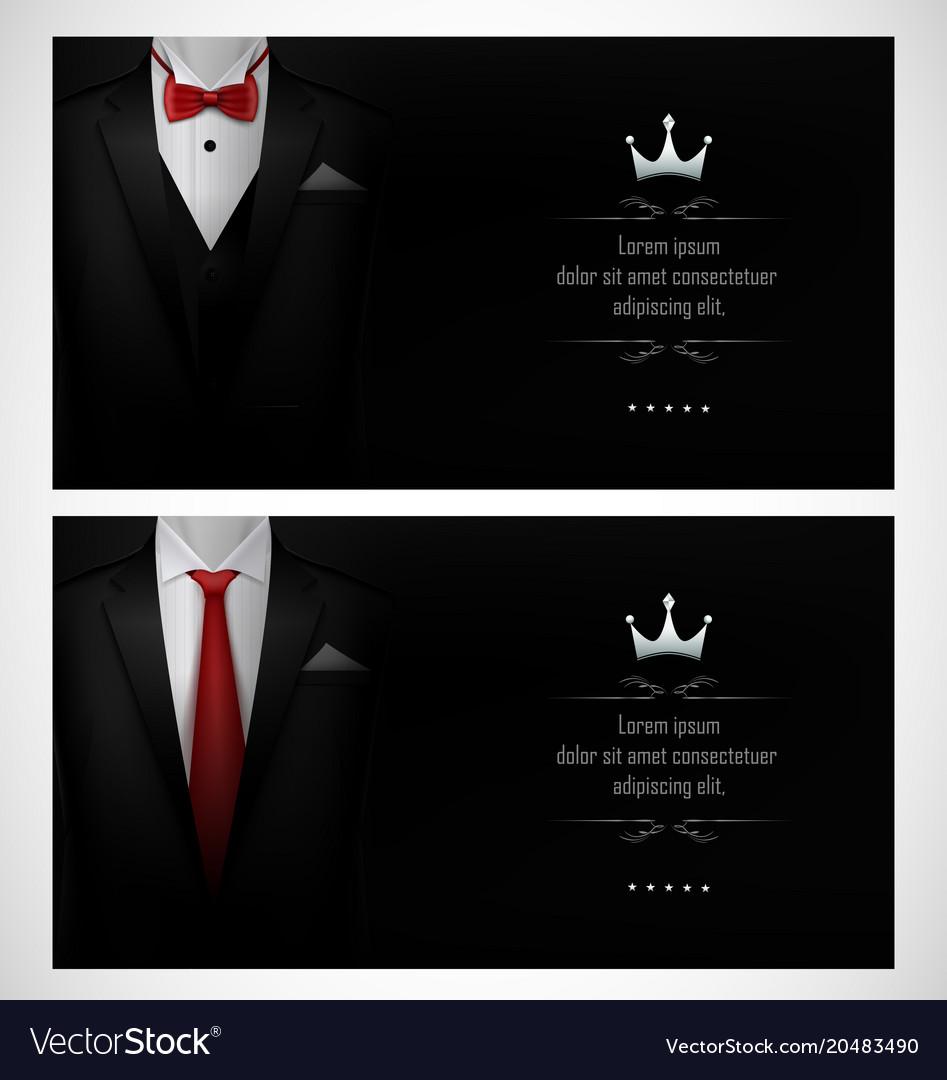Set of black tuxedo business card templates with r set of black tuxedo business card templates with r vector image reheart Choice Image