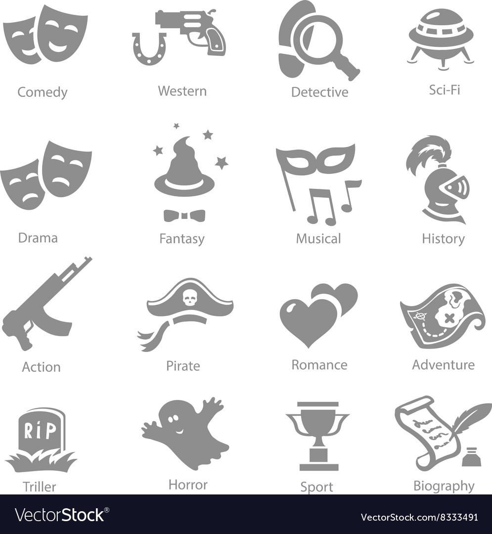 Film genres icon set vector image