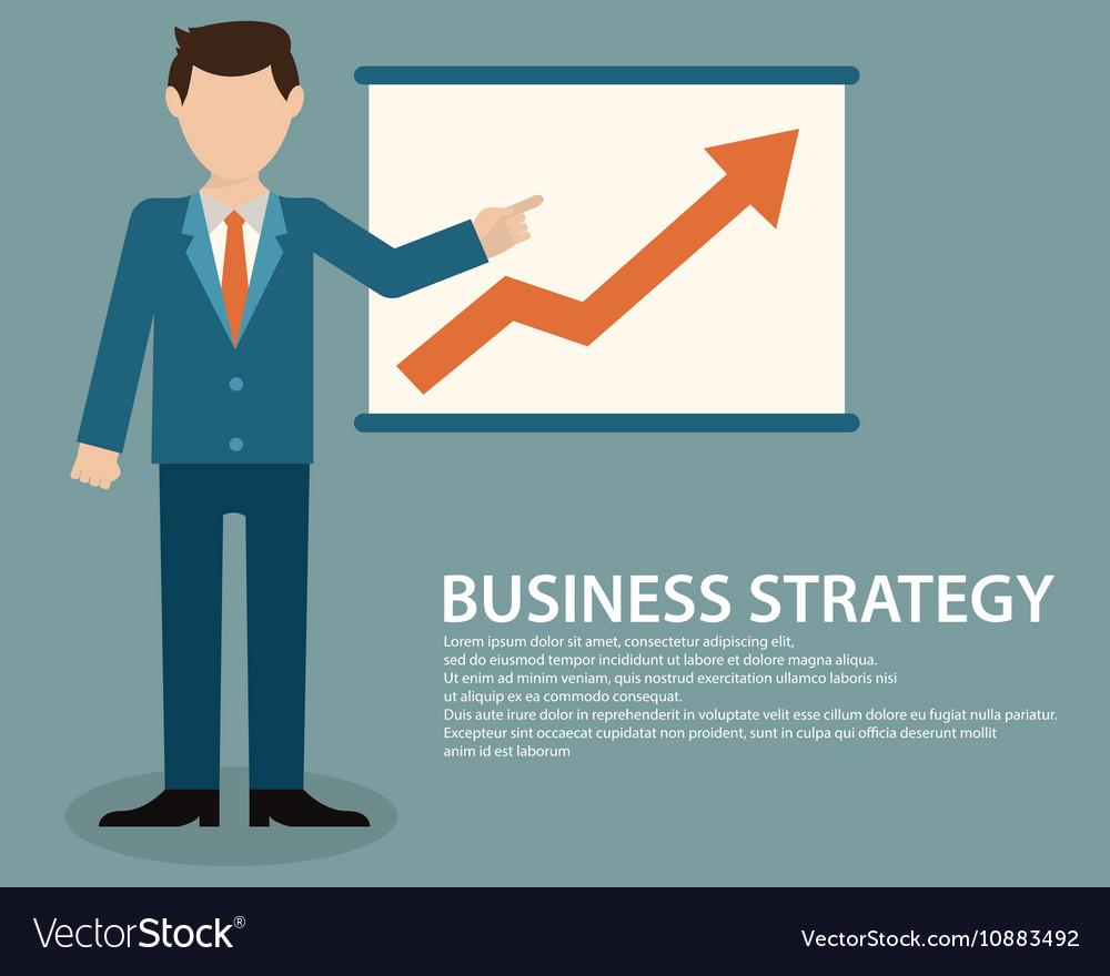 Flat design concept of businessman presenting vector image