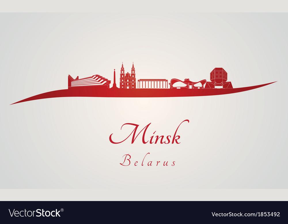 Minsk skyline in red vector image