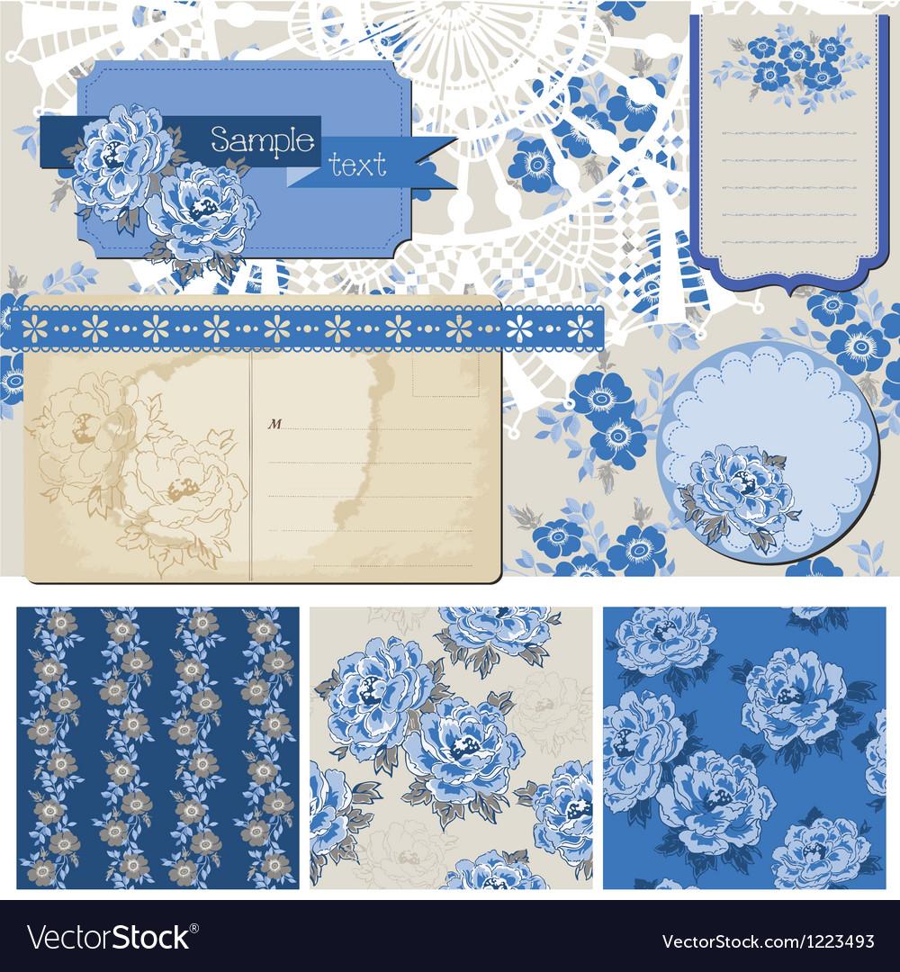 Vintage Blue Flowers vector image