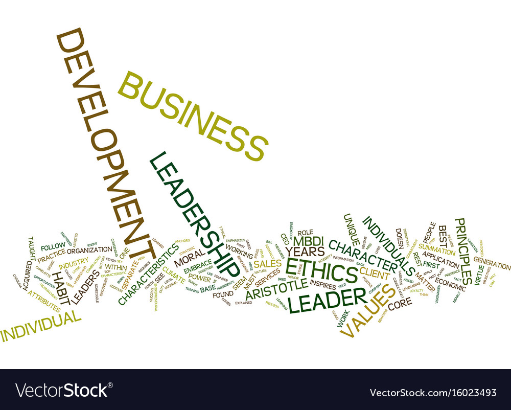Ethics leadership in business development text vector image