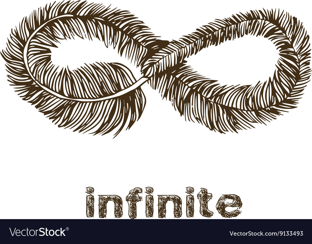 Line Art Feather : Infinite feather line drawing royalty free vector image