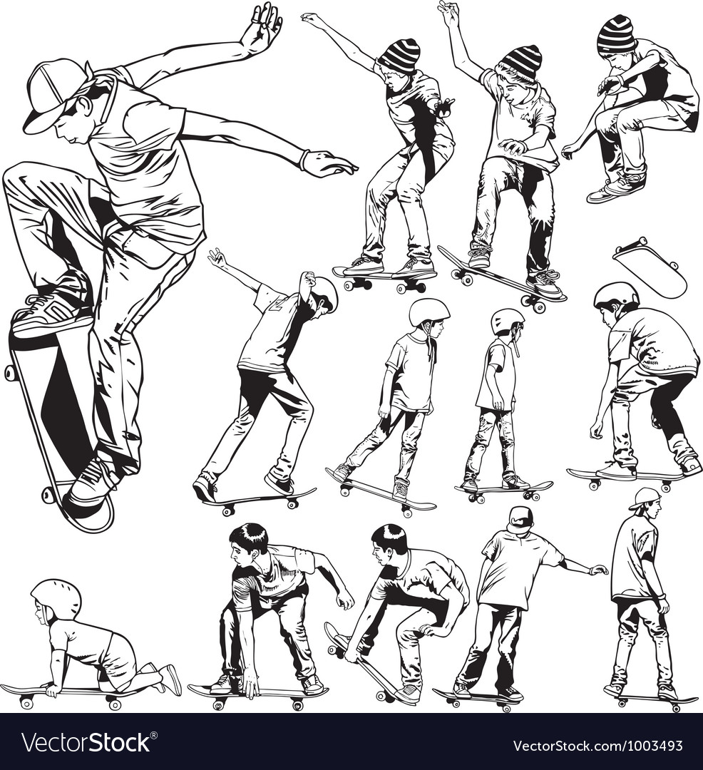 Skateboarding drawings vector image