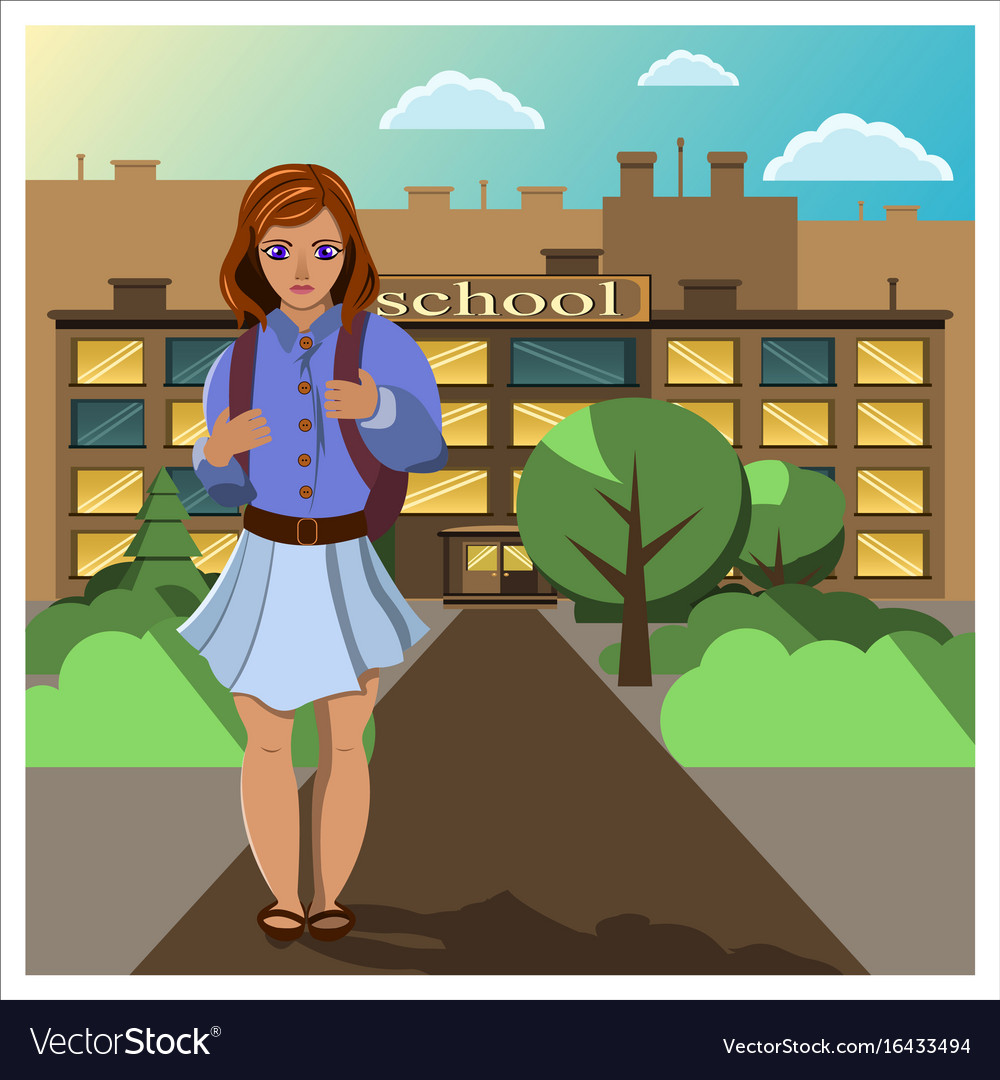 girl comes home from school royalty free vector image