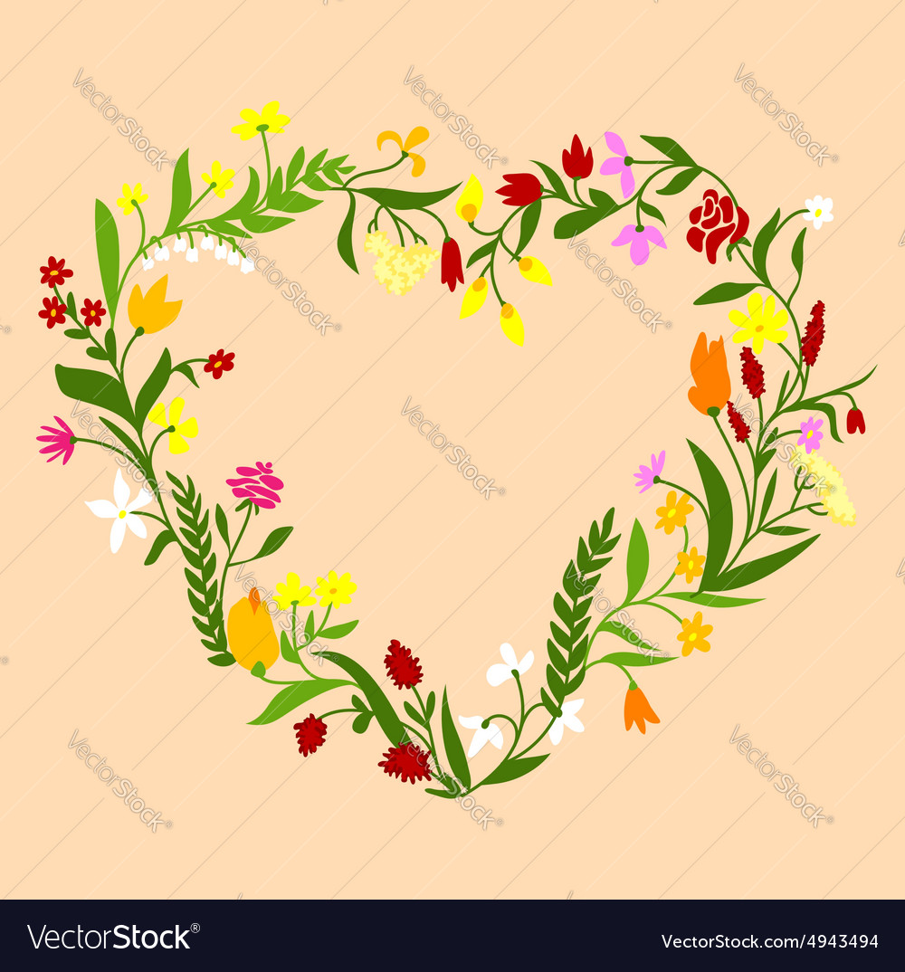 Spring wildflowers heart shaped frame vector image
