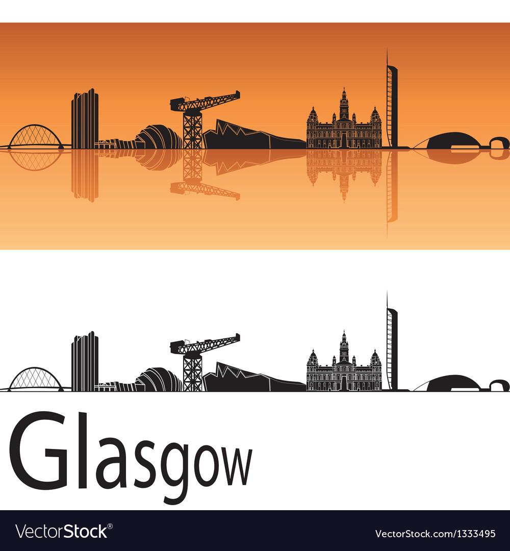 Glasgow skyline in orange background vector image