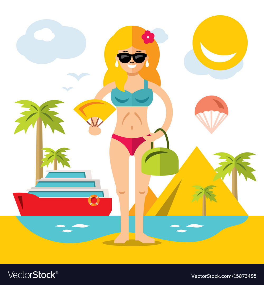 Beach girl flat style colorful cartoon vector image