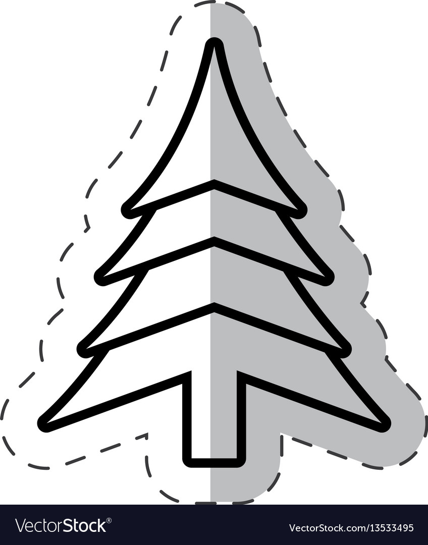 Christmas tree festive cut line vector image