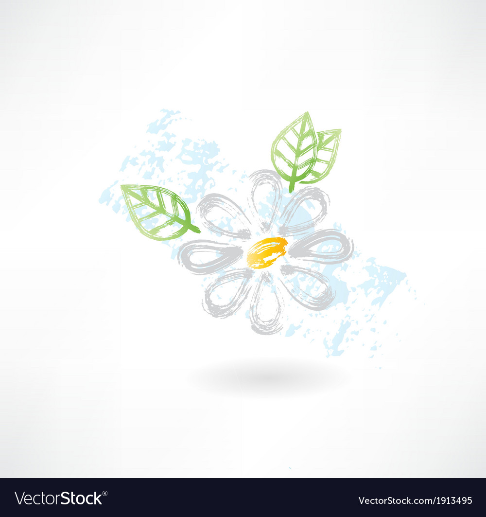 Daisy flower grunge icon vector image