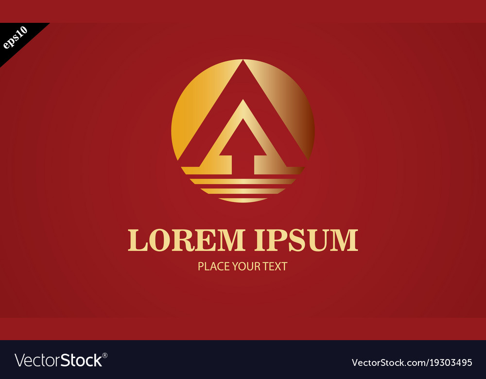 Gold arrow up round logo vector image